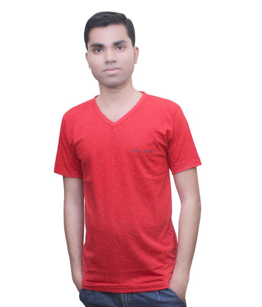Mtc Red Cotton Half Sleeves T-shirt