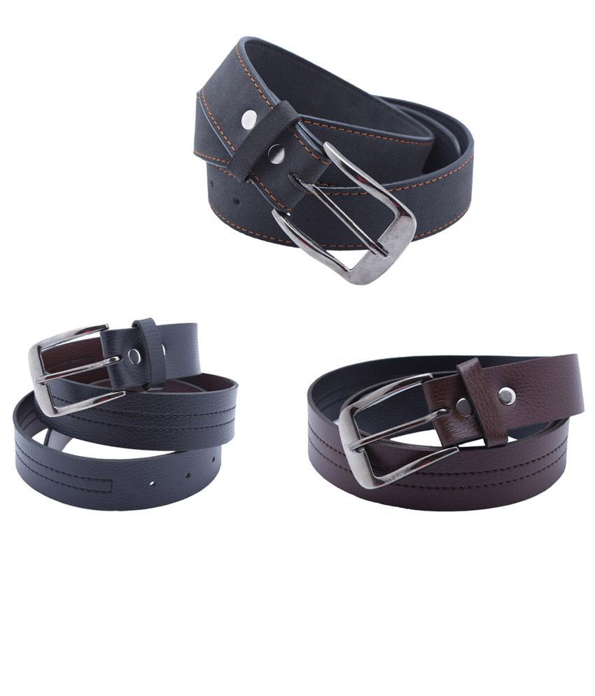PT Black Formal Belt Set of 3