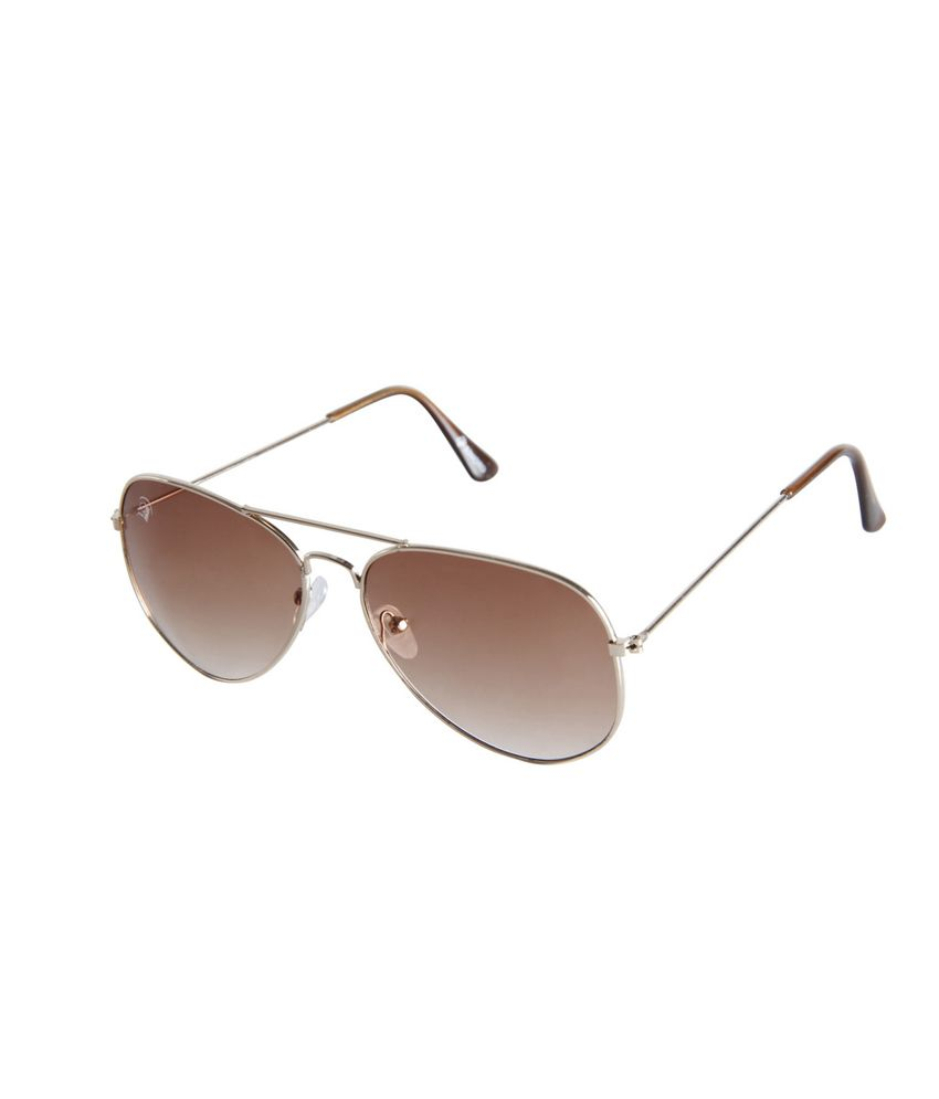 Rinoto Golden Brown Aviator Sunglasses