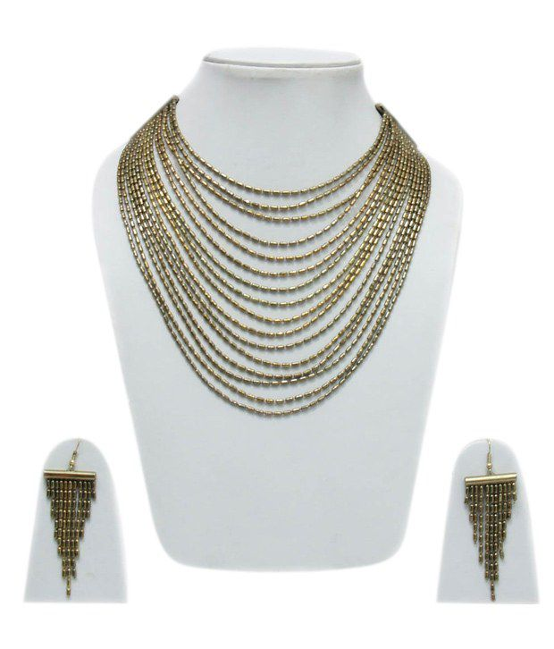 VR Designers Elegant Multistring Golden Egyptian Necklace Set