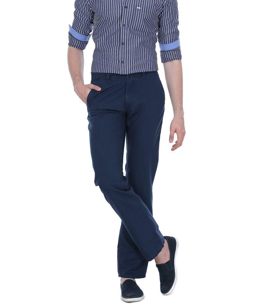 Basics Blue Cotton Blend Casual Trouser