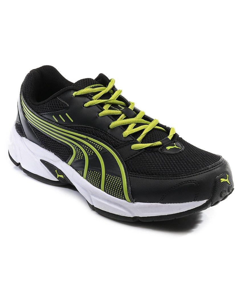 Puma Black Lime Running Shoes