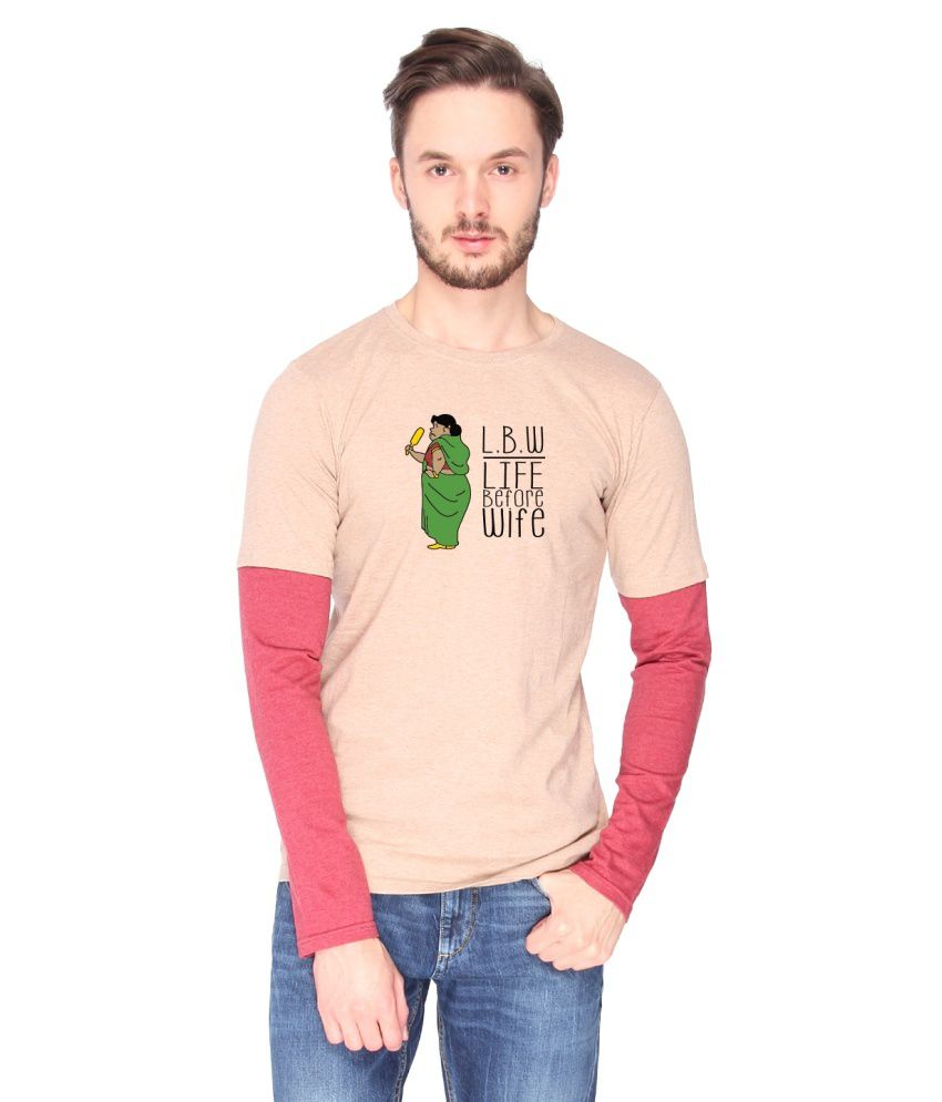 Campus Sutra Beige Cotton T-shirt (LWB)