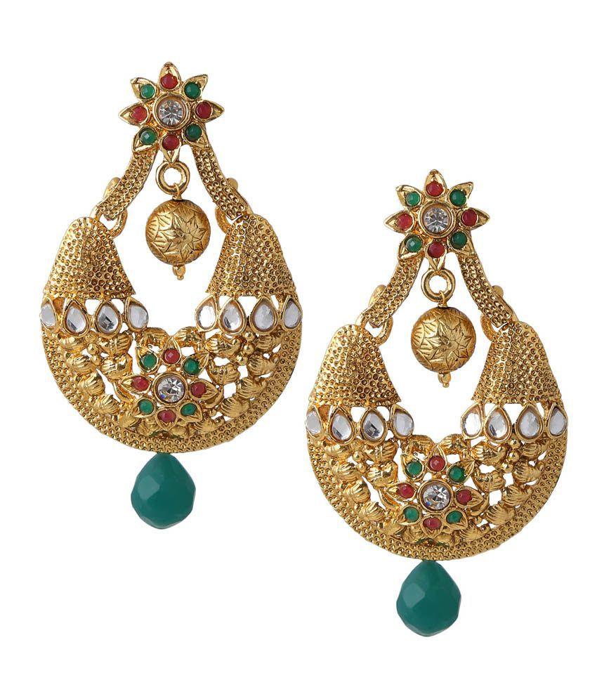 Amukta Green & Maroon Gold Earrings With Diamonds