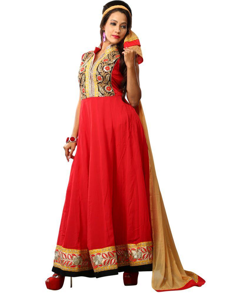 Devki Red Georgette Unstitched Dress Material