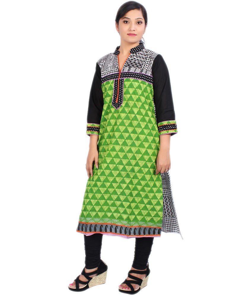 Newlook Black and Green Printed Cotton 3/4 Sleeves Kurti