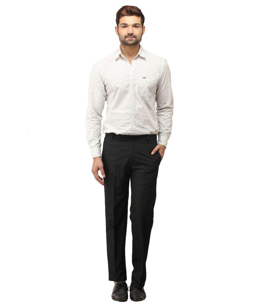Stylz Black Cotton Blend Formals Trousers