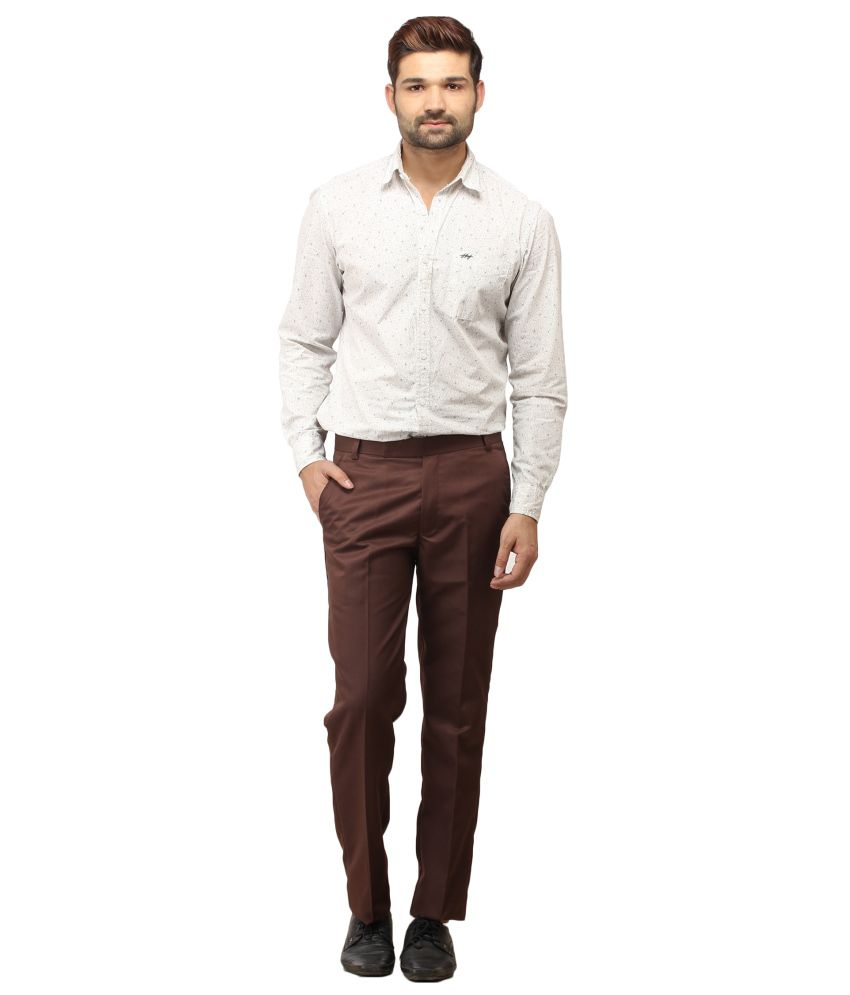 Stylz Brown Cotton Blend Formals Trousers