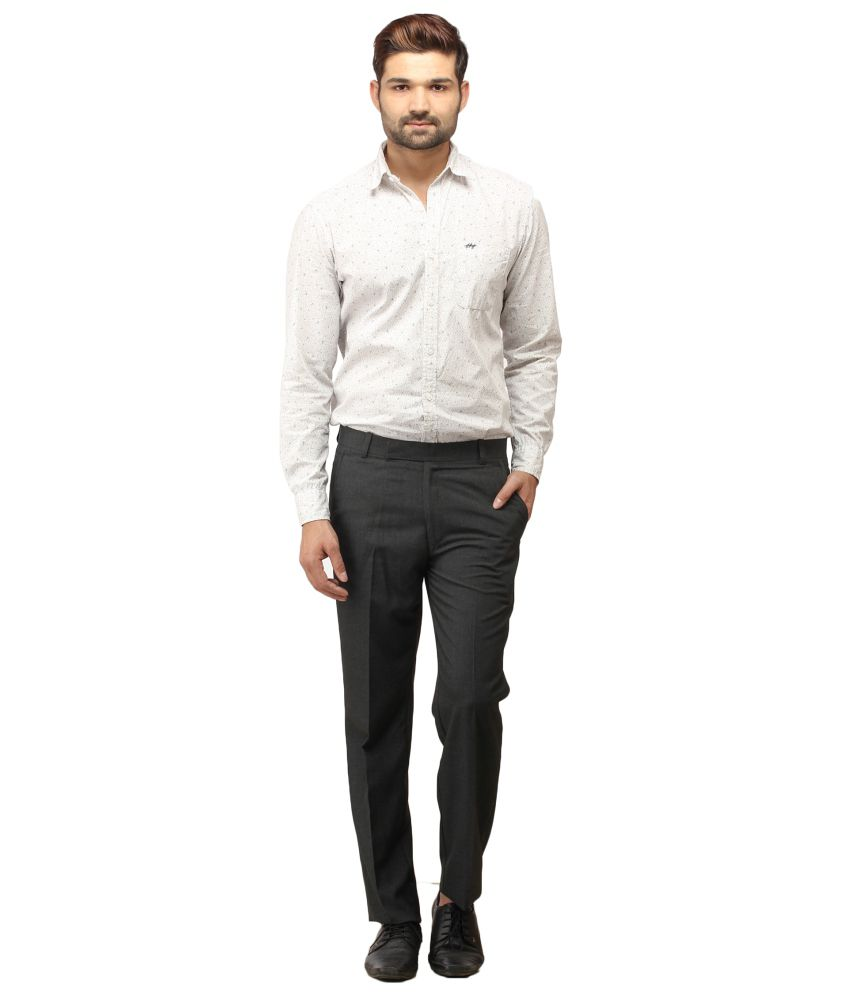 Stylz Gray Cotton Blend Formals Trousers