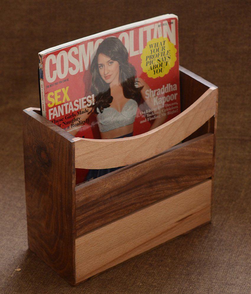 Unravel India Wood Magazine Holder Brown ...