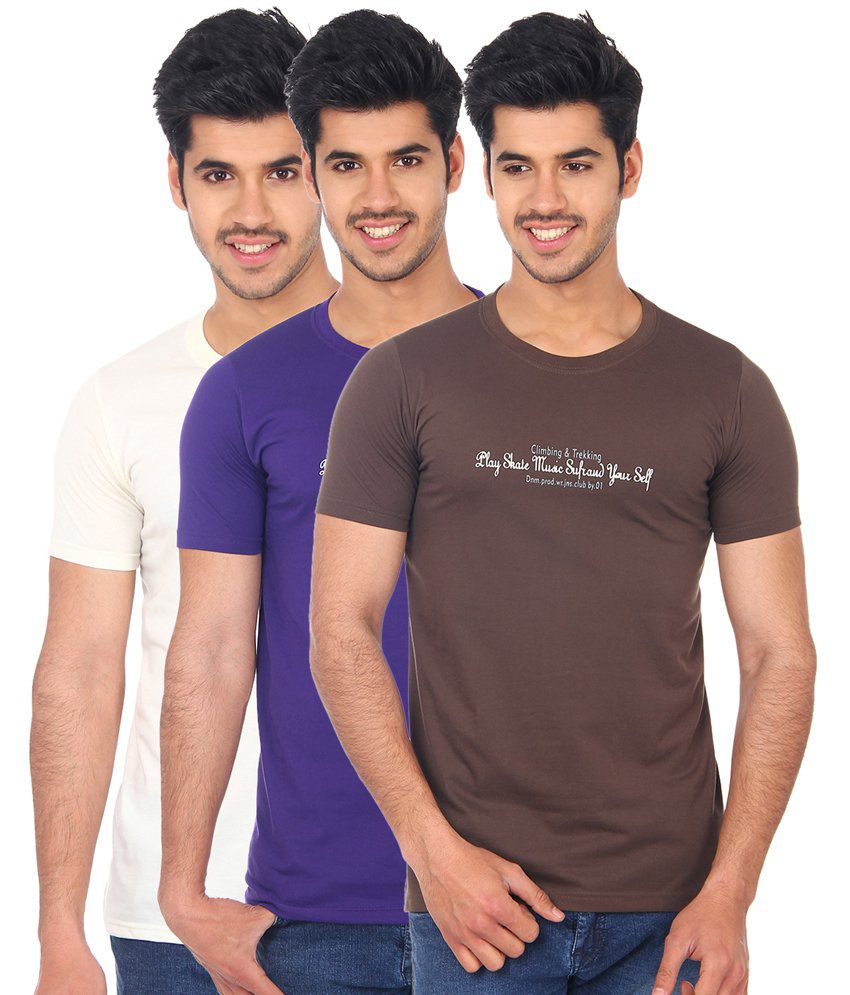 Jack Berry GoldenRod Cotton Half Sleeves T-Shirt - Pack of 3