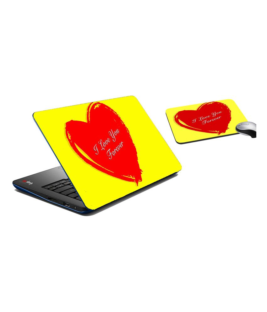 Mesleep Heart Laptop Skin And Mouse Pad
