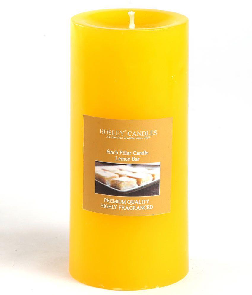 Hosley Yellow Lemon Bar 6Inch Pillar Candle