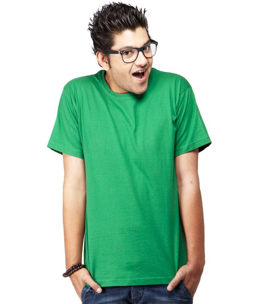 M/s Denim Green Cotton Half Sleeves Round Neck T-Shirt