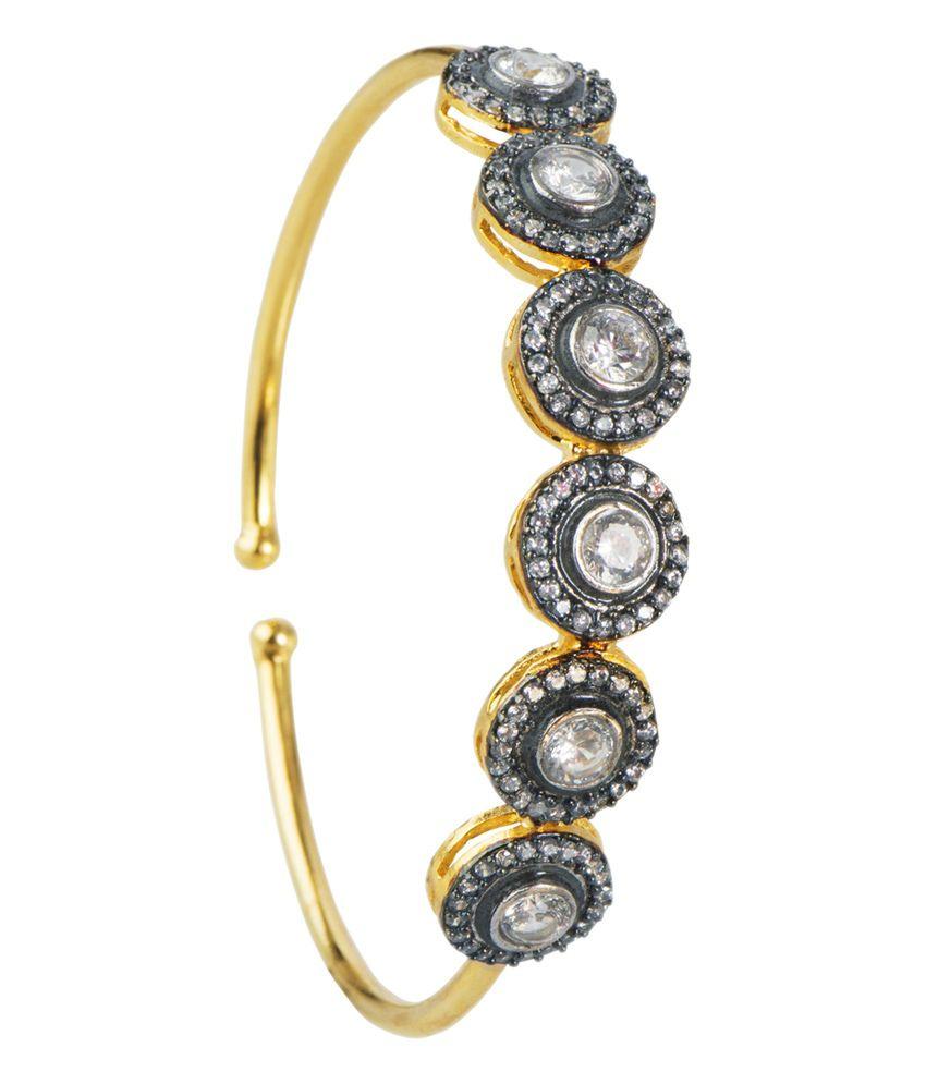 Mehtaphor Crystal Silver Gold Plated Adjustable Victorian Bracelet