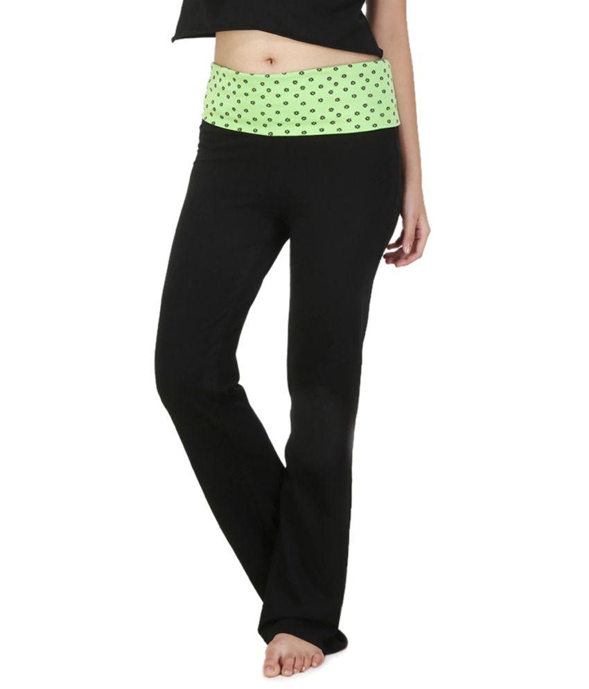 Nite Flite Lime Green Floral Print Foldover Yoga Pants