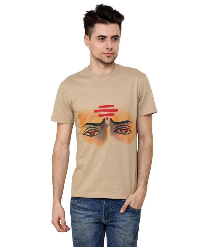 Rang Rage - The Warrior - Beige Cotton Men T- Shirt - Handpainted
