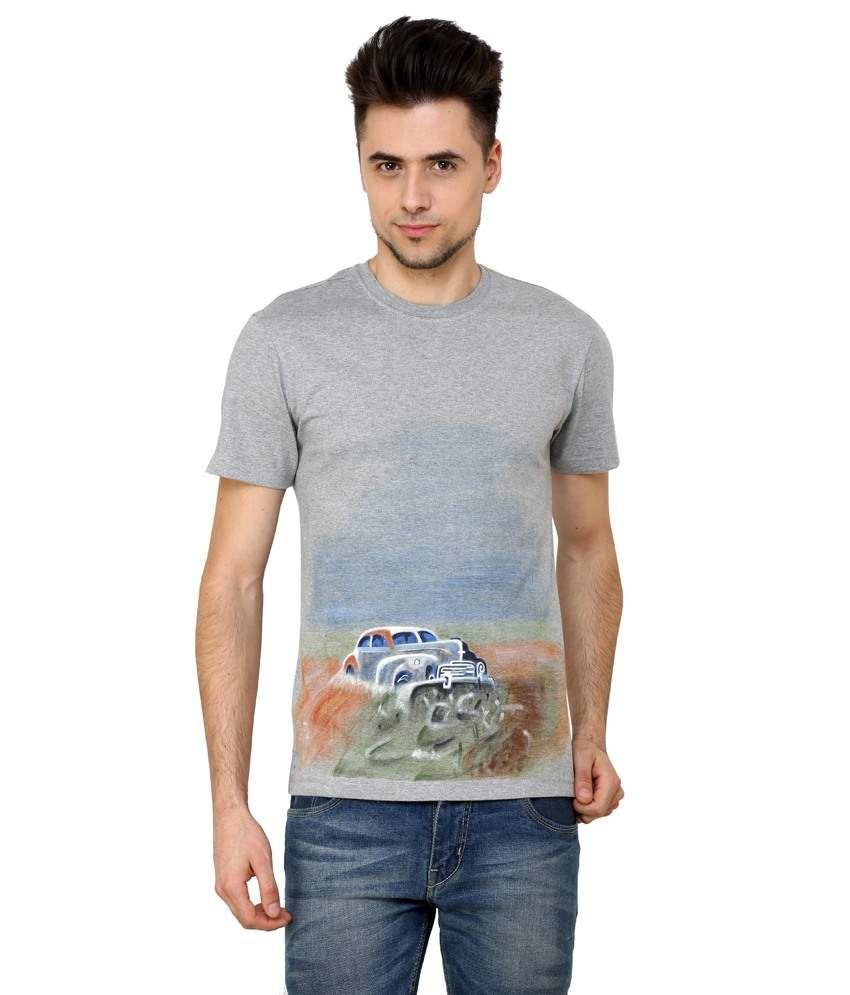 Rang Rage - Vintage Car - Grey Cotton Men T- Shirt - Hand Painted