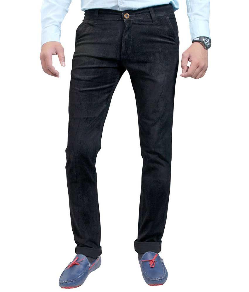 Routeen Black Cotton Lycra Slim Fit Corduroy Casual Trousers