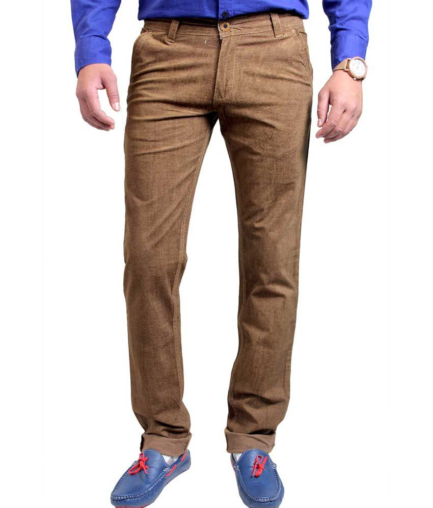 Routeen Brown Cotton Lycra Slim Fit Corduroy Casual Trousers