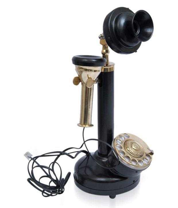 Home Sparkle Black Brass Telephone Showpiece