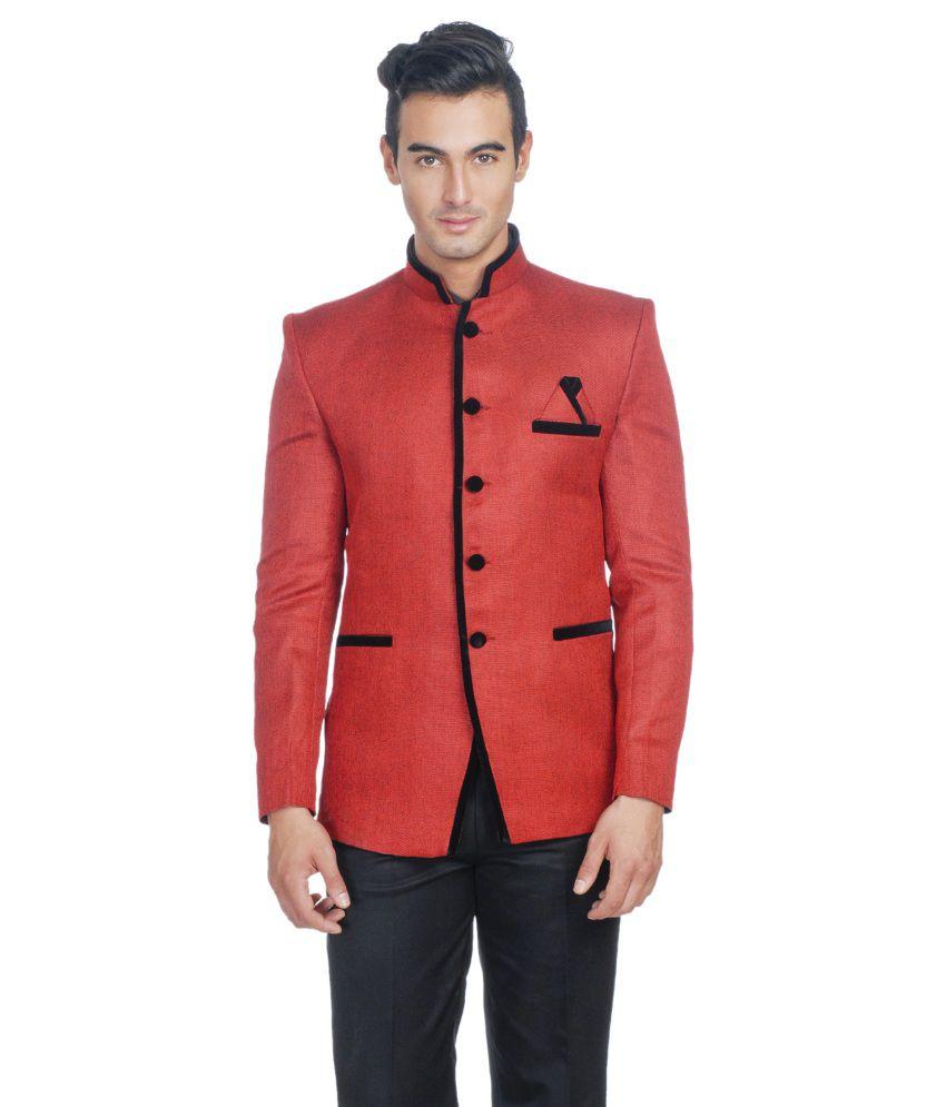 Wintage Red Rayon Party Wear Blazer