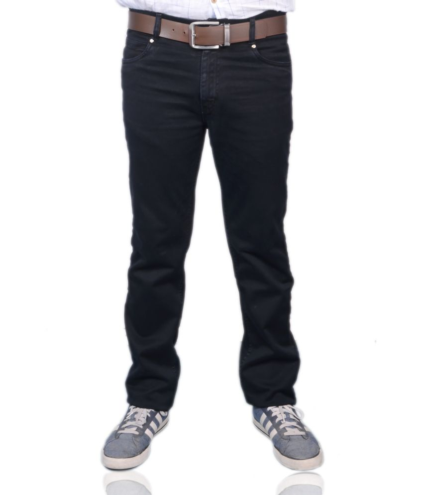 Colour Hunt Black Cotton Jeans