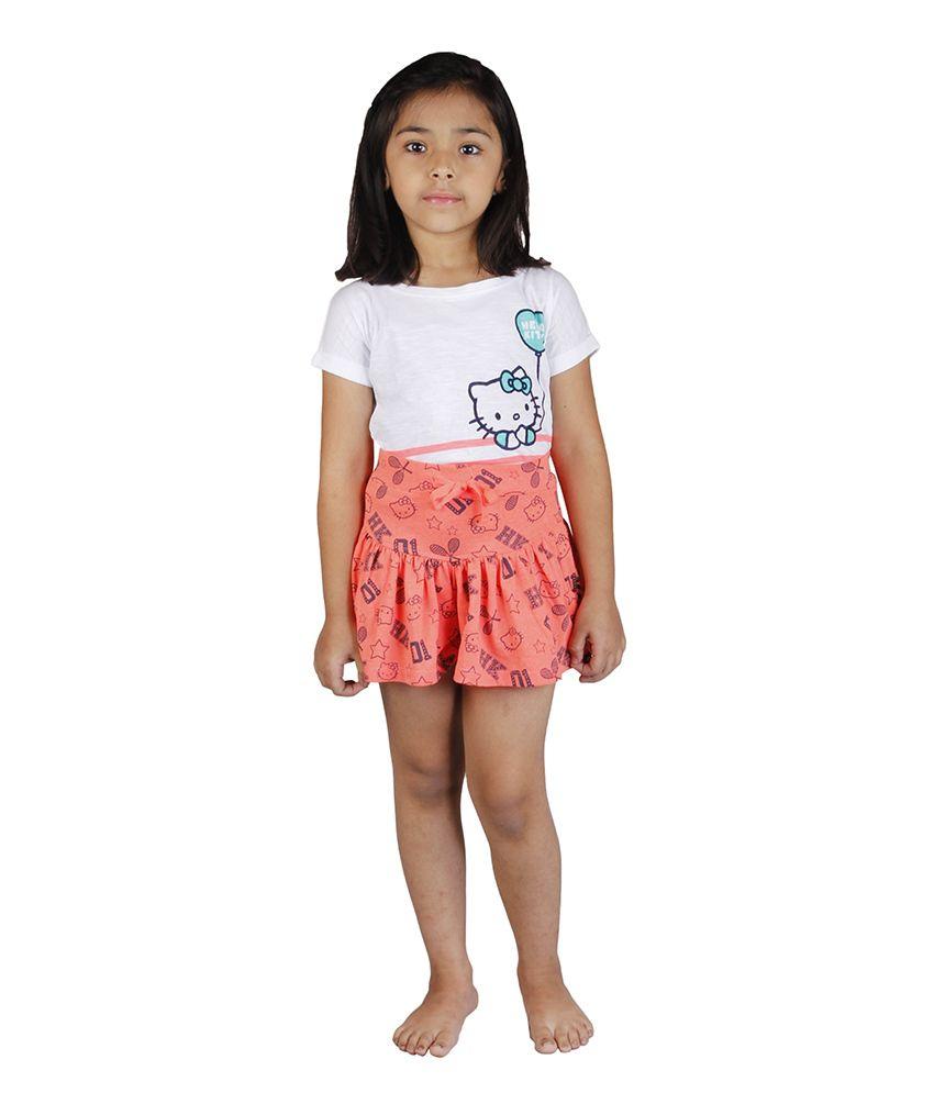 Hellokitty Orange Cotton Printed Elastic Skirts
