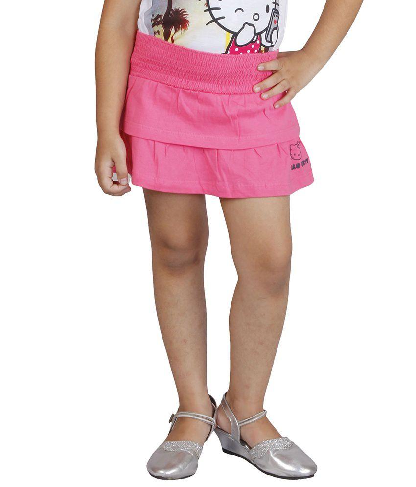 Hellokitty Pink Cotton Solids Elastic Skirts