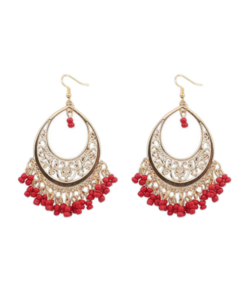 Red Chandelier India: Young & Forever Red Beads Chandelier Earrings For Women
