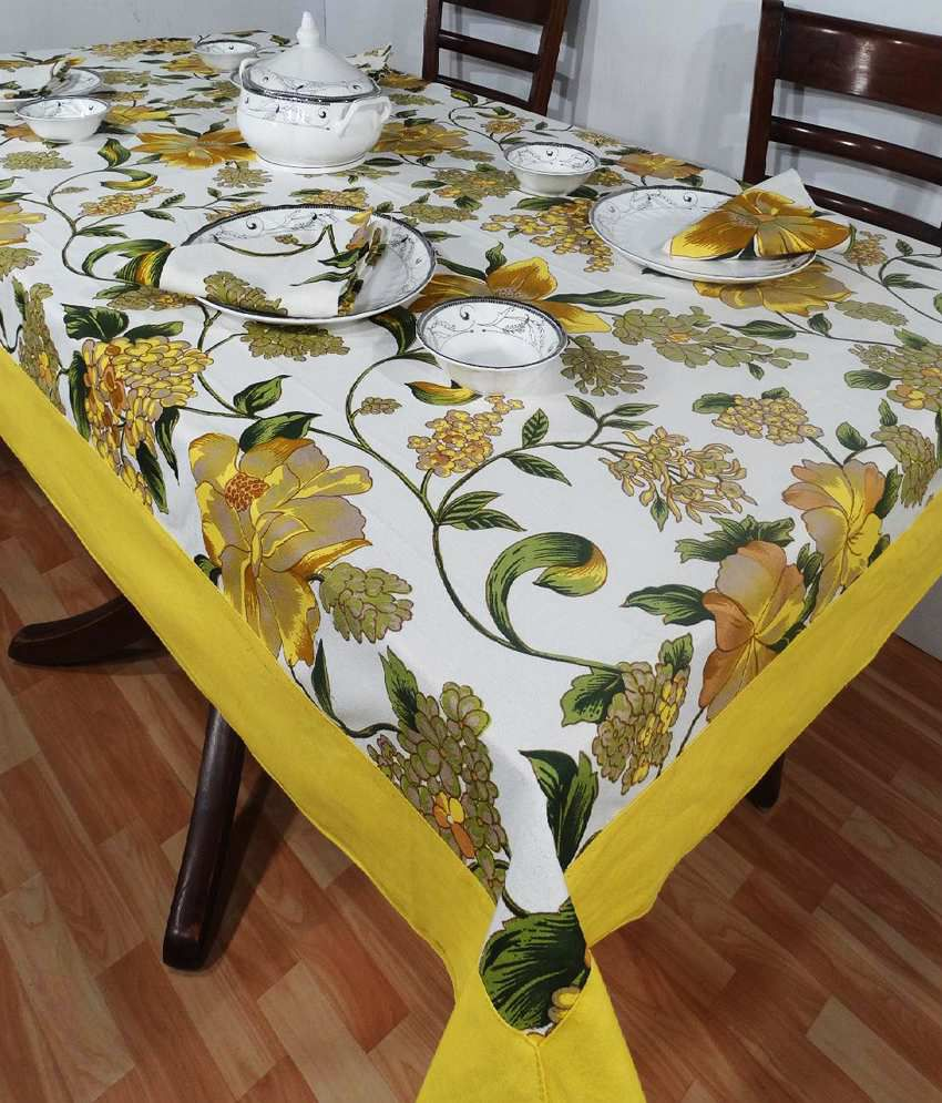 Heritagefabs Harmony Yellow Table Cover With 6 Napkins