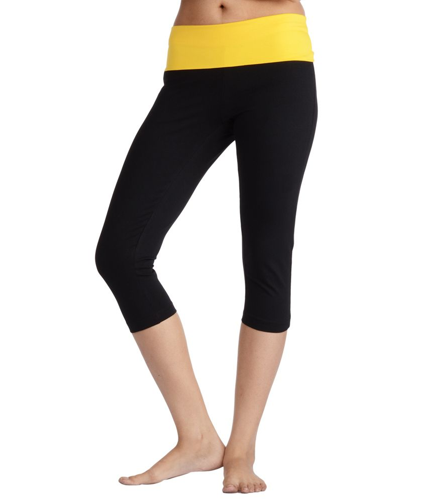 Nite Flite Black Yoga Capri With Yellow Foldover Waist
