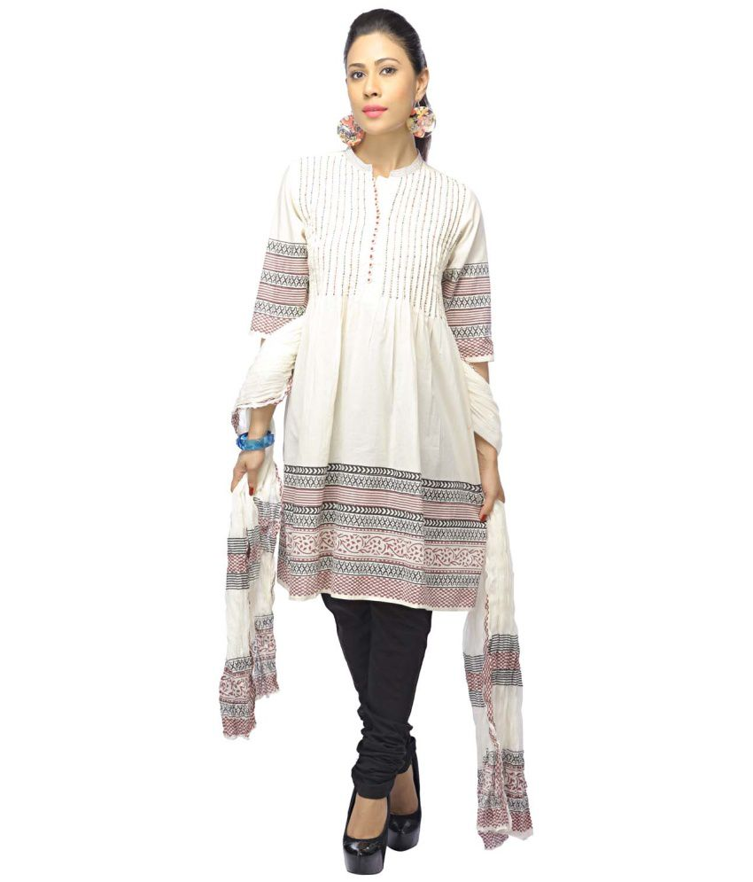 Stop White Cotton Salwar Kurta with Dupatta