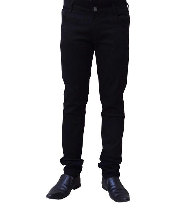 Alan Woods Black Cotton Jeans For Men