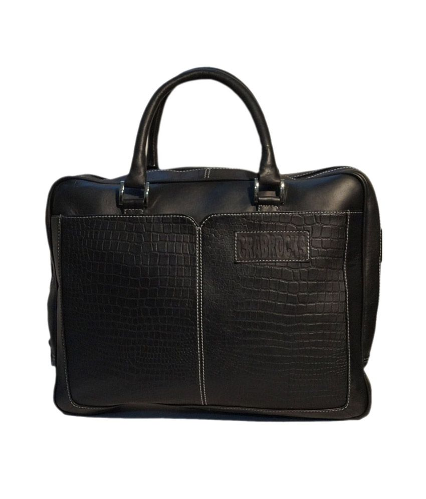 Crabrock Black Leather Laptop Bag