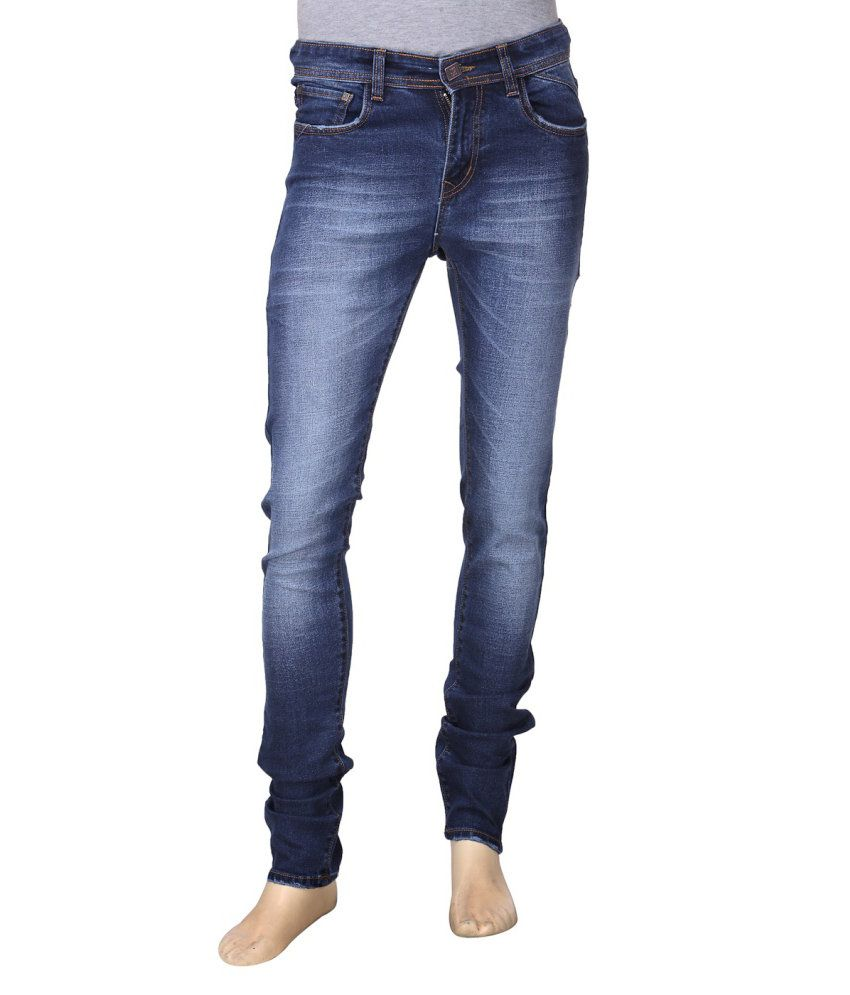 First Soul Navy Cotton Blend Jeans