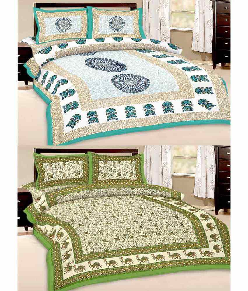 kismat collection combo of 100% Cotton Jaipuri UniqStyliner Traditional Double bed sheets