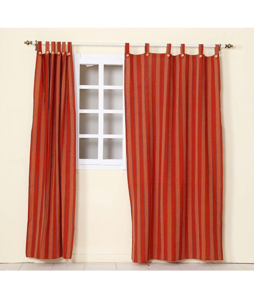 Home Decor Red Cotton Plain Tab Top Long Door Curtain