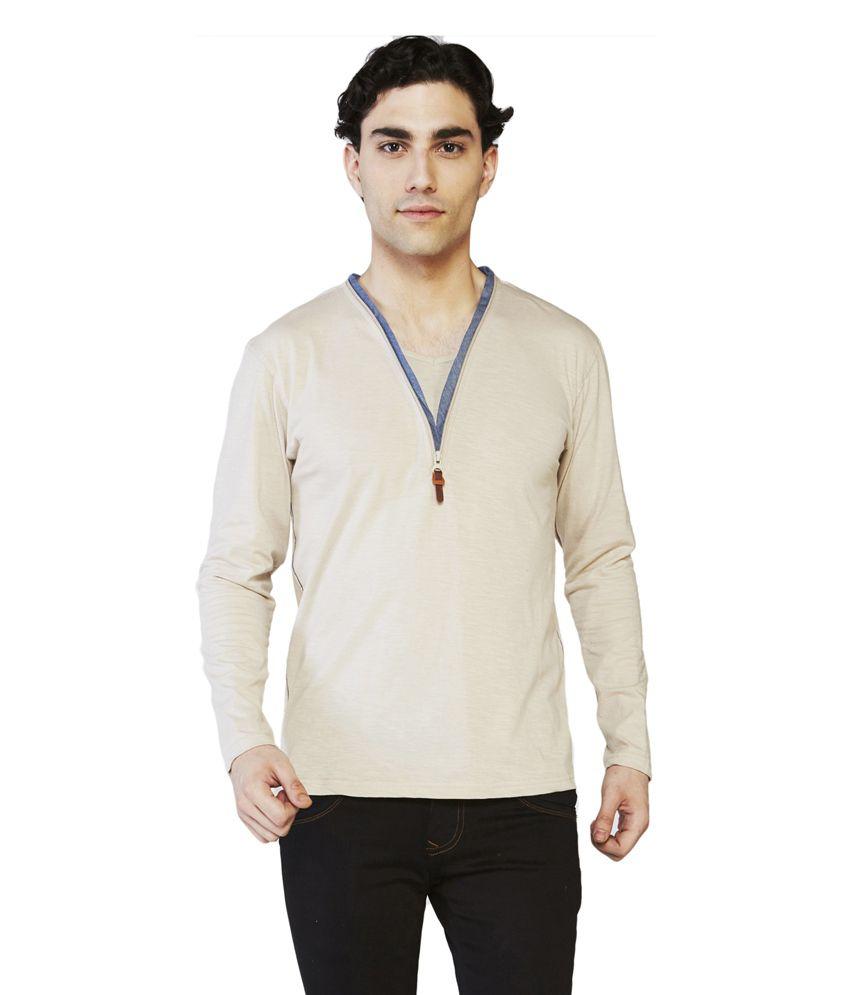 Globus Brown Cotton Full Sleeve V-Neck T-Shirt
