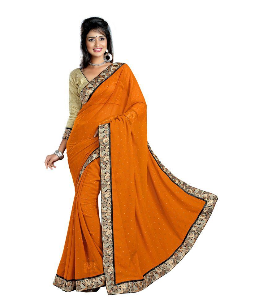 Namo Fashion Orange Chiffon Saree