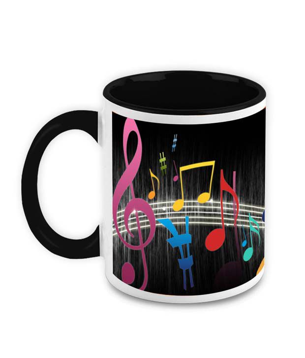 HomeSoGood The Alphabets Of Music Ceramic Coffee Mug