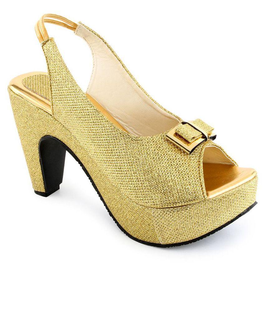 Shoe Lab Gold Faux Leather Peep Toe Sandals