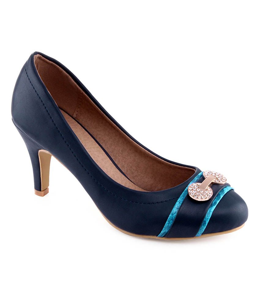 Shuz Touch Blue Faux Leather Stiletto Pump Shoes