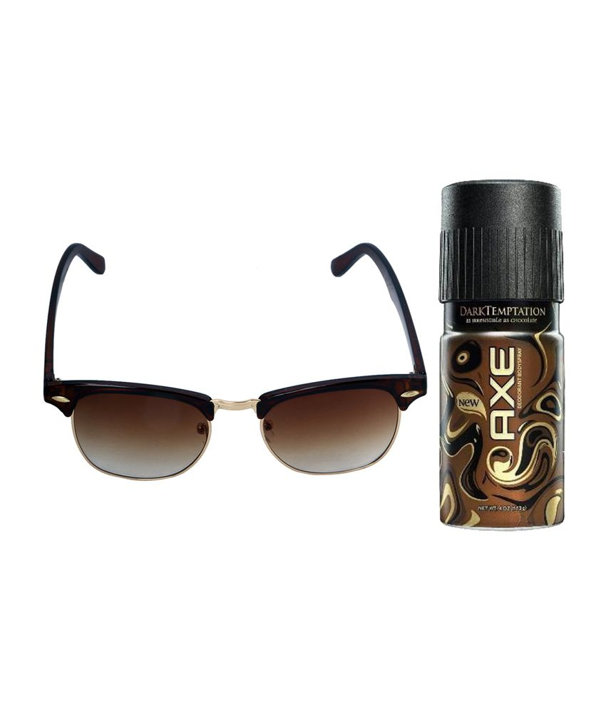 Vorosky Brown Aviator Unisex Sunglasses with AXE Deo 150 ml (VRSSS9)