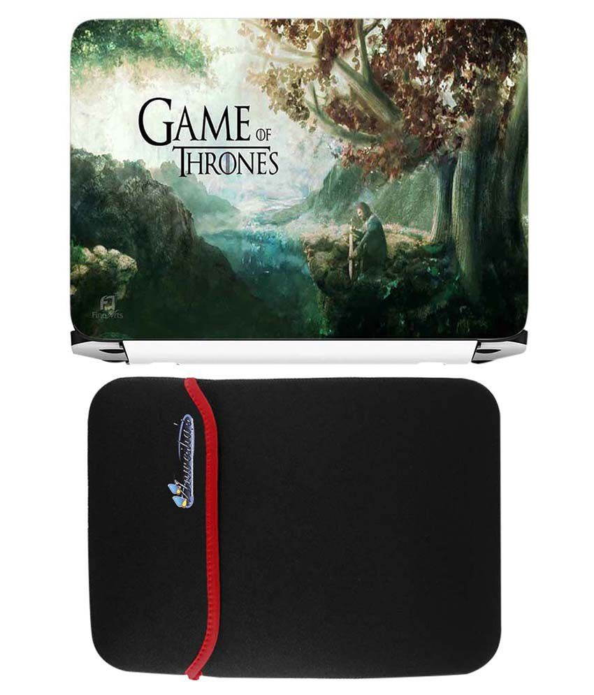 Anwesha's Red Reversible Laptop Sleeve With Game Of Thrones Printed Laptop Skin