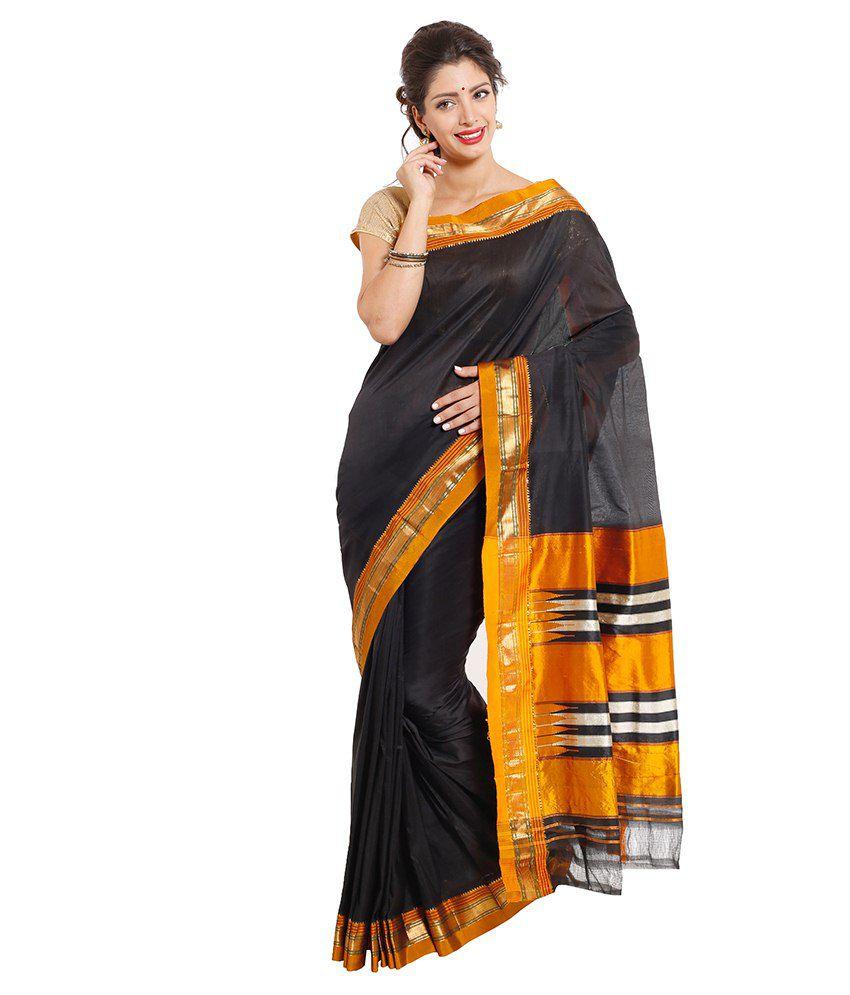Dhammanagi Black Silk Ilkal Saree