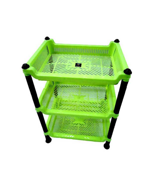 Diamond Kitchen Rack Stand For Vegetable Fruit Basket 3 Tier/Layers Storage  Kitchen Gift   Green