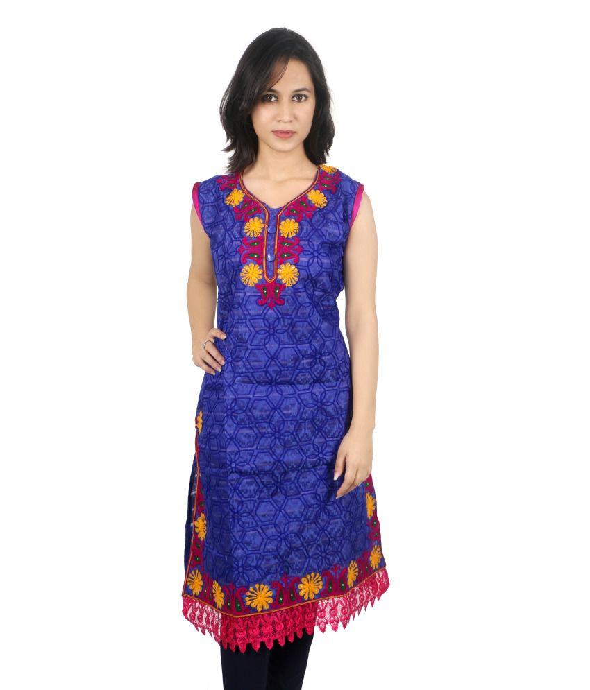 Djh Tradex Pvt Ltd Crepe Jacquard Medium Embroidered Round Neck Kurti