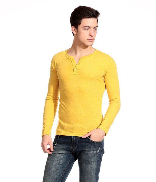 FASHION TOWN Yellow Cotton Blend V-Neck T-Shirt