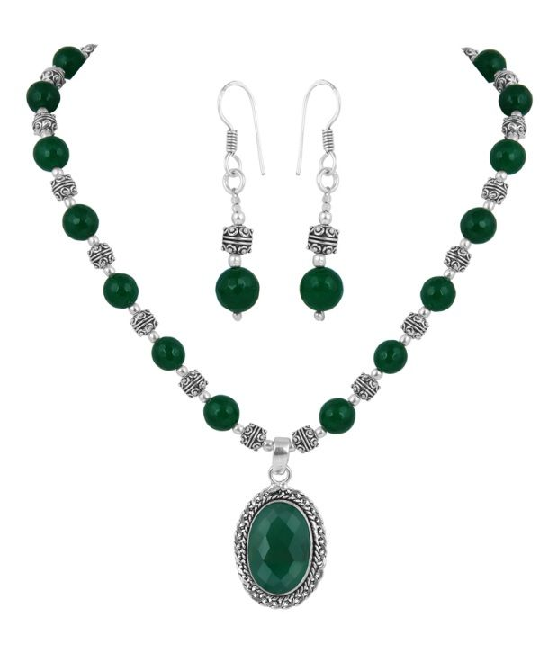 Pearlz Ocean Green Style Diva Necklace Set
